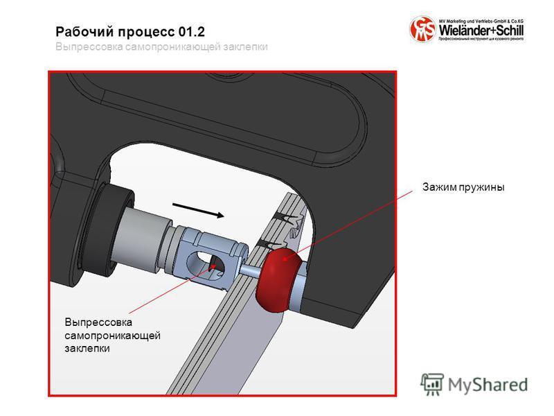 Рабочий процесс 01.2 Выпрессовка само проникающей заклепки Выпрессовка само проникающей заклепки Зажим пружины