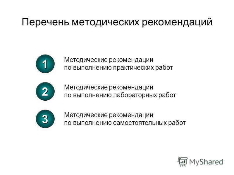1 Методические рекомендации по выполнению практических работ 2 Методические рекомендации по выполнению лабораторных работ 3 Методические рекомендации по выполнению самостоятельных работ Перечень методических рекомендаций