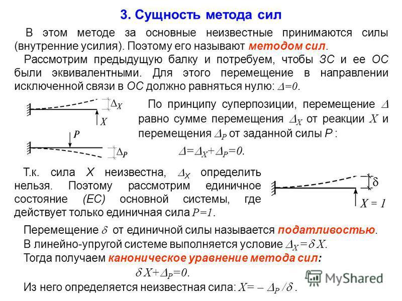 3. Сущность метода сил В этом методе за основные неизвестные принимаются силы (внутренние усилия). Поэтому его называют методом сил. Рассмотрим предыдущую балку и потребуем, чтобы ЗС и ее ОС были эквивалентными. Для этого перемещение в направлении ис