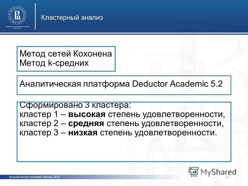 Высшая школа экономики, Москва, 2013 Кластерный анализ фото 12 Метод сетей Кохонена Метод k-средних Аналитическая платформа Deductor Academic 5.2 Сформировано 3 кластера: кластер 1 – высокая степень удовлетворенности, кластер 2 – средняя степень удов