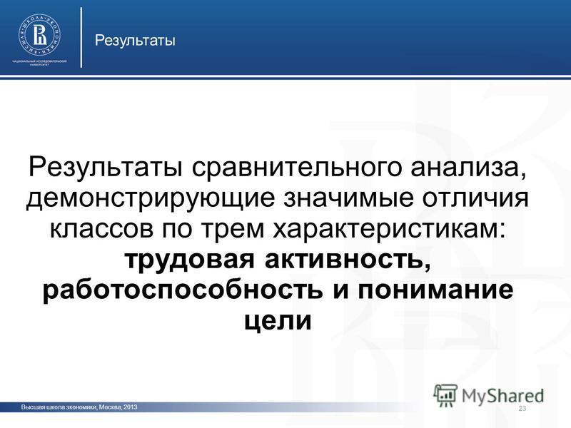 Высшая школа экономики, Москва, 2013 Результаты фото 23 Результаты сравнительного анализа, демонстрирующие значимые отличия классов по трем характеристикам: трудовая активность, работоспособность и понимание цели