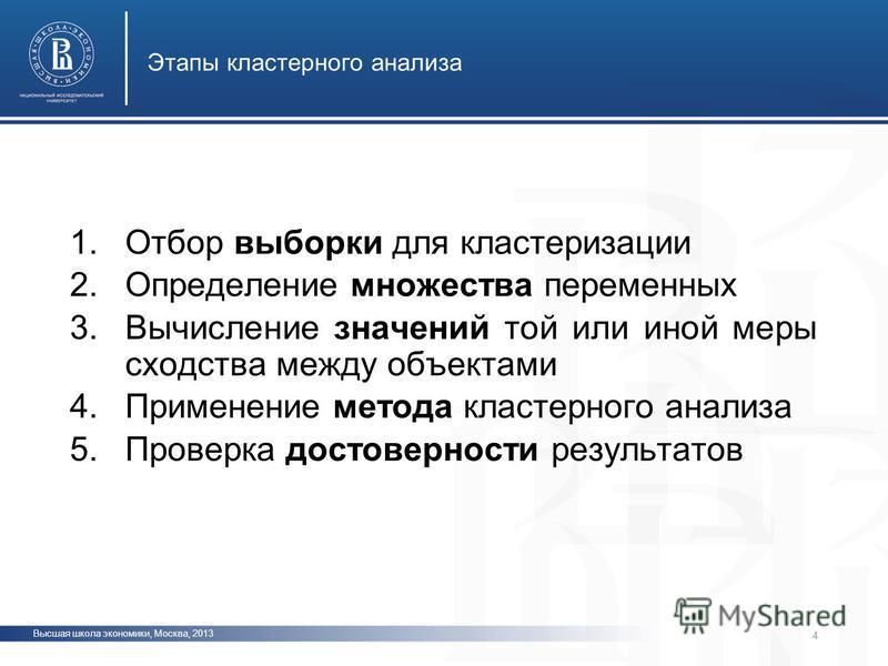 Высшая школа экономики, Москва, 2013 Этапы кластерного анализа фото 1. Отбор выборки для кластеризации 2. Определение множества переменных 3. Вычисление значений той или иной меры сходства между объектами 4. Применение метода кластерного анализа 5. П