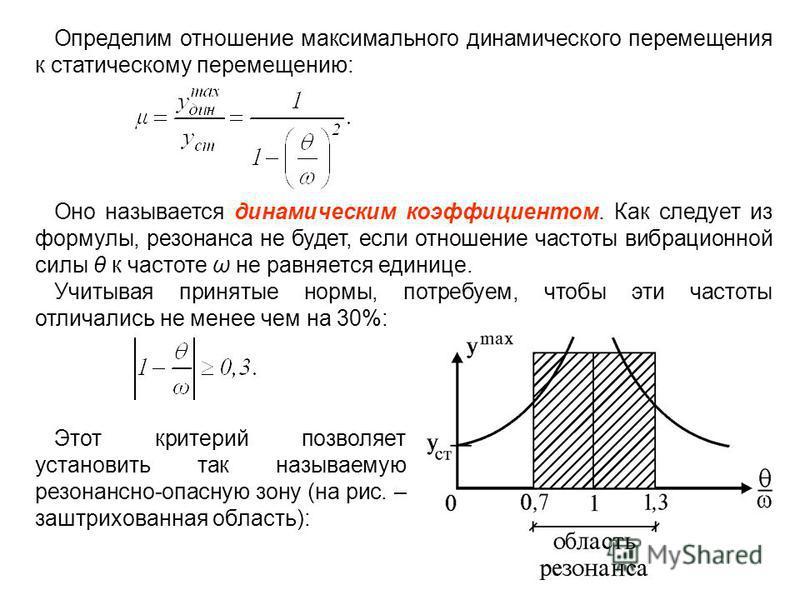 Определим отношение максимального динамического перемещения к статическому перемещению: Оно называется динамическим коэффициентом. Как следует из формулы, резонанса не будет, если отношение частоты вибрационной силы θ к частоте ω не равняется единице