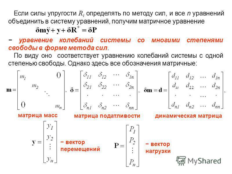 Если силы упругости R i определять по методу сил, и все n уравнений объединить в систему уравнений, получим матричное уравнение уравнение колебаний системы со многими степенями свободы в форме метода сил. По виду оно соответствует уравнению колебаний