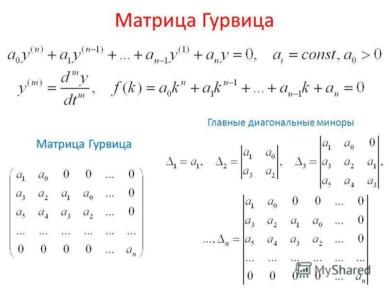 Матрица Гурвица Главные диагональные миноры