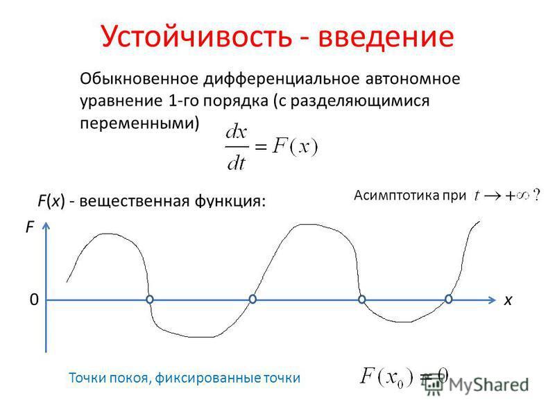 Устойчивость - введение Обыкновенное дифференциальное автономное уравнение 1-го порядка (с разделяющимися переменными) Точки покоя, фиксированные точки F(x) - вещественная функция: x F 0 Асимптотика при