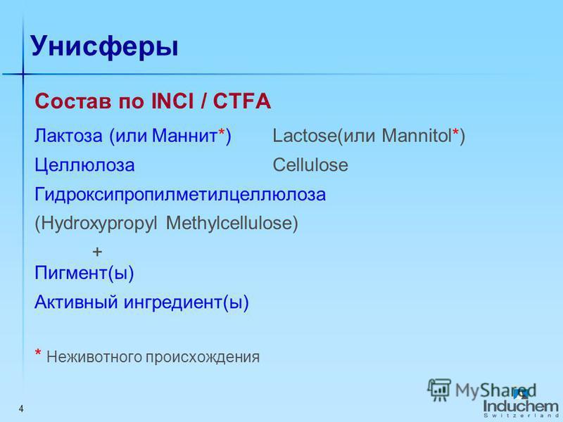 4 Унисферы Состав по INCI / CTFA Лактоза (или Маннит*) Lactose(или Mannitol*) Целлюлоза Cellulose Гидроксипропилметилцеллюлоза (Hydroxypropyl Methylcellulose) + Пигмент(ы) Активный ингредиент(ы) * Неживотного происхождения