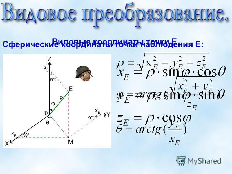 Сферические координаты точки наблюдения Е: Видовые координаты точки Е