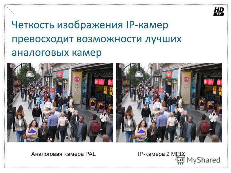 Четкость изображения IP-камер превосходит возможности лучших аналоговых камер Аналоговая камера PALIP-камера 2 MPIX