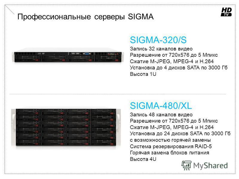 Профессиональные серверы SIGMA SIGMA-320/S Запись 32 каналов видео Разрешение от 720 х 576 до 5 Мпикс Сжатие M-JPEG, MPEG-4 и H.264 Установка до 4 дисков SATA по 3000 Гб Высота 1U SIGMA-480/XL Запись 48 каналов видео Разрешение от 720 х 576 до 5 Мпик