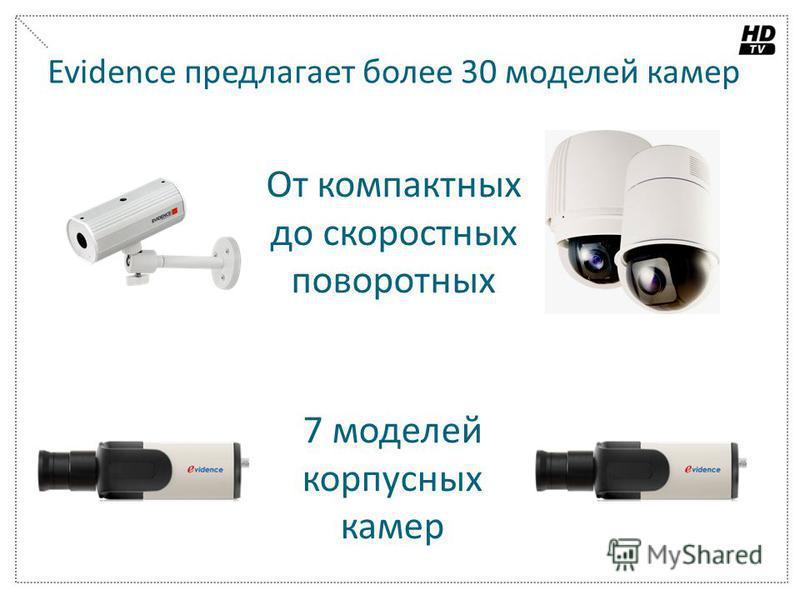 Evidence предлагает более 30 моделей камер От компактных до скоростных поворотных 7 моделей корпусных камер