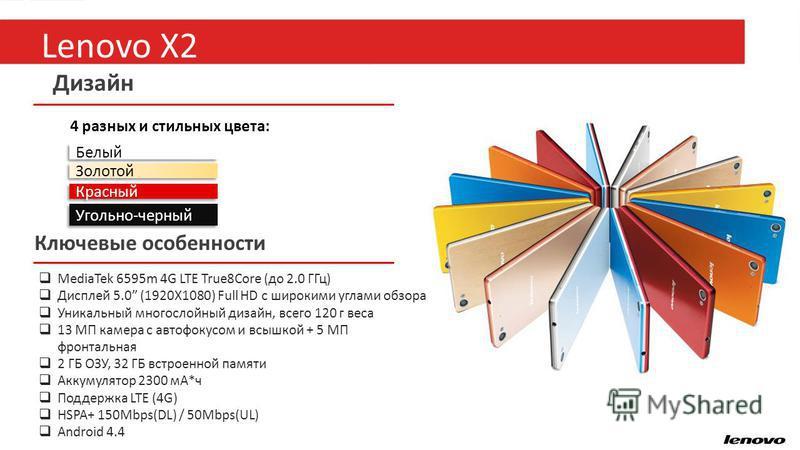 18 Дизайн Белый Золотой Красный 4 разных и стильных цвета: Ключевые особенности MediaTek 6595m 4G LTE True8Core (до 2.0 ГГц) Дисплей 5.0 (1920X1080) Full HD с широкими углами обзора Уникальный многослойный дизайн, всего 120 г веса 13 МП камера с авто