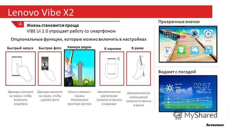 22 Lenovo Vibe X2 4 Жизнь становится проще VIBE UI 2.0 упрощает работу со смартфоном Прозрачные значки Виджет с погодой Быстрый запуск Быстрое фото В кармане Дважды нажмите на экран, чтобы включить смартфон Дважды нажмите на экран, чтобы сделать фото