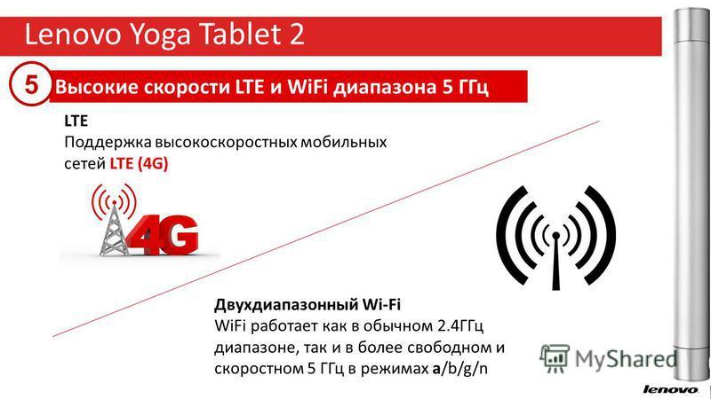 9 Lenovo Yoga Tablet 2 Высокие скорости LTE и WiFi диапазона 5 ГГц 5 LTE Поддержка высокоскоростных мобильных сетей LTE (4G) Двухдиапазонный Wi-Fi WiFi работает как в обычном 2.4ГГц диапазоне, так и в более свободном и скоростном 5 ГГц в режимах a/b/