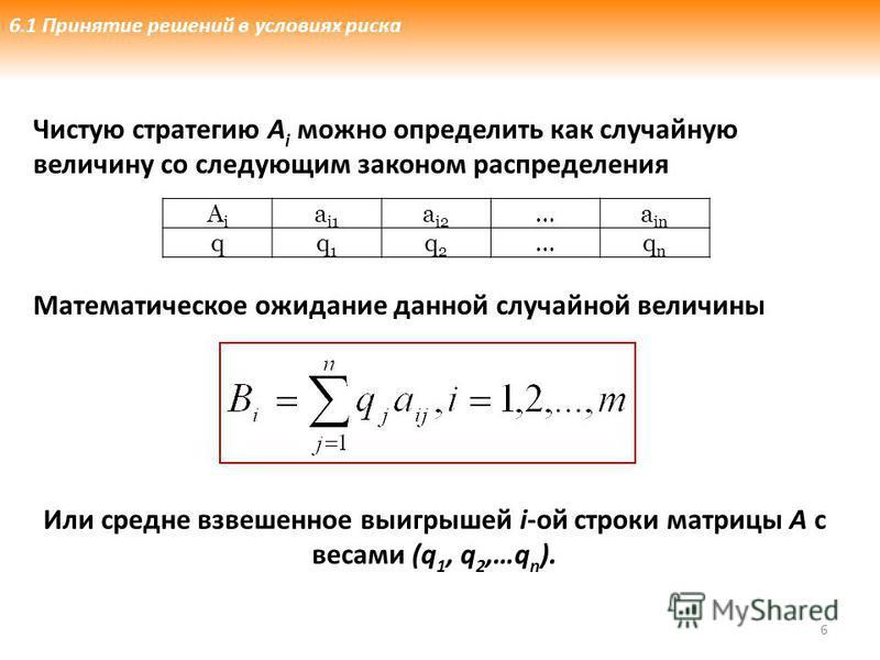 Чистую стратегию А i можно определить как случайную величину со следующим законом распределения Математическое ожидание данной случайной величины 6 AiAi a i1 a i2 …a in qq1q1 q2q2 …qnqn Или средне взвешенное выигрышей i-ой строки матрицы А с весами (