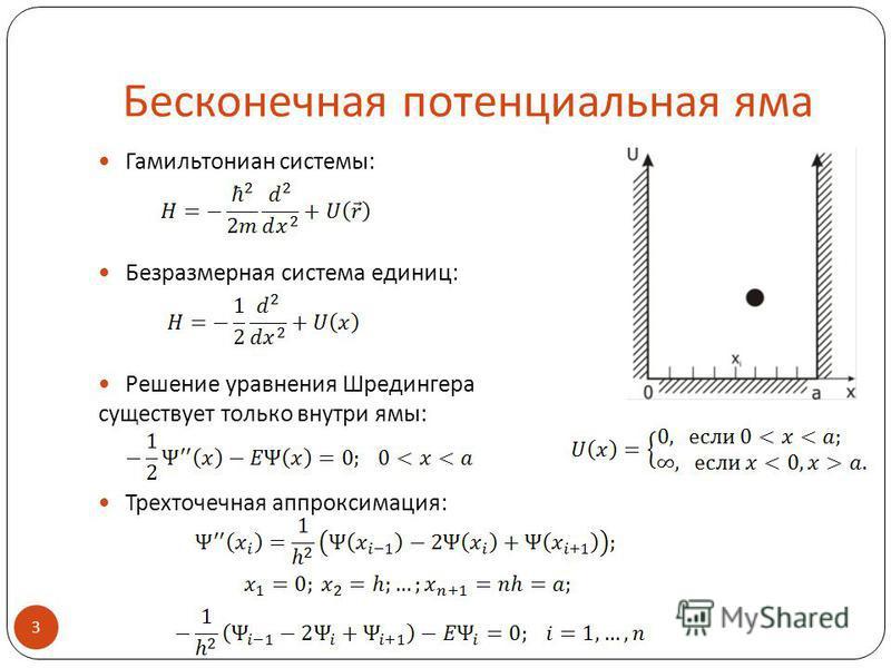 Бесконечная потенциальная яма Гамильтониан системы: Безразмерная система единиц: Решение уравнения Шредингера существует только внутри ямы: Трехточечная аппроксимация: 3