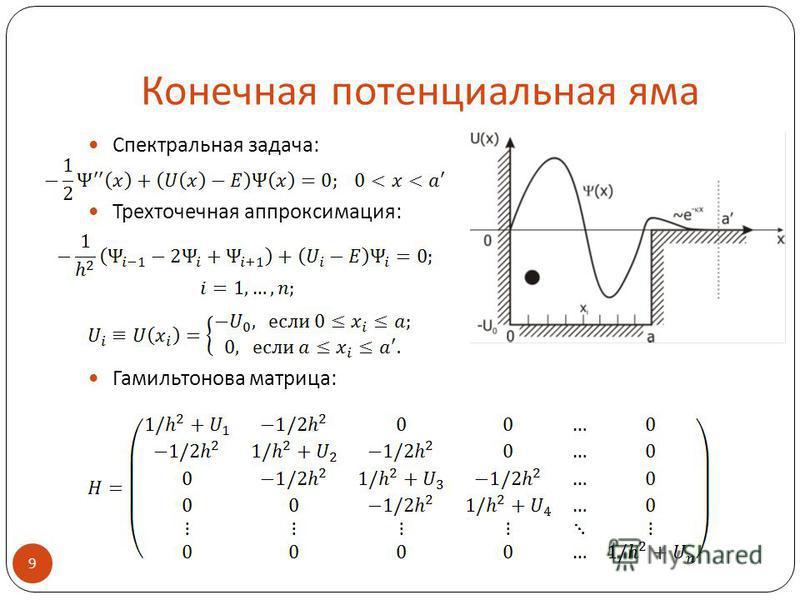 Конечная потенциальная яма Спектральная задача: Трехточечная аппроксимация: Гамильтонова матрица: 9