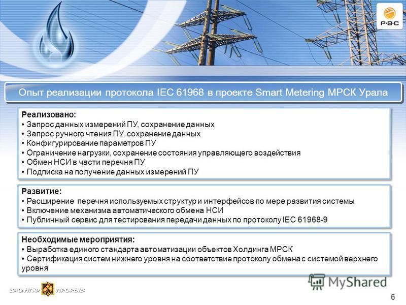 Опыт реализации протокола IEC 61968 в проекте Smart Metering МРСК Урала 6 Реализовано: Запрос данных измерений ПУ, сохранение данных Запрос ручного чтения ПУ, сохранение данных Конфигурирование параметров ПУ Ограничение нагрузки, сохранение состояния