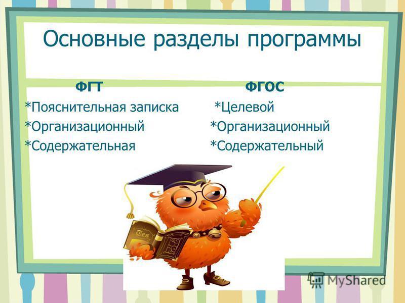 Основные разделы программы ФГТ *Пояснительная записка *Организационный *Содержательная ФГОС *Целевой *Организационный *Содержательный