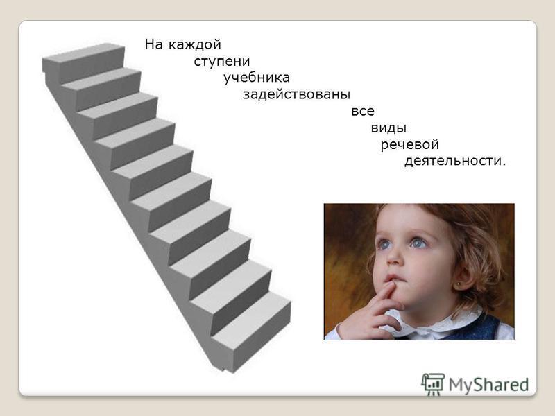 На каждой ступени учебника задействованы все виды речевой деятельности.