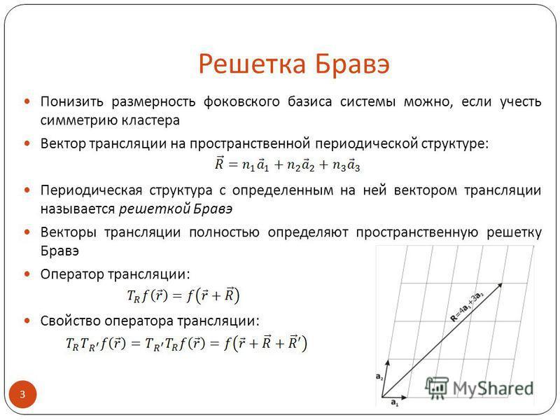 Решетка Бравэ Понизить размерность фоковского базиса системы можно, если учесть симметрию кластера Вектор трансляции на пространственной периодической структуре: Периодическая структура с определенным на ней вектором трансляции называется решеткой Бр