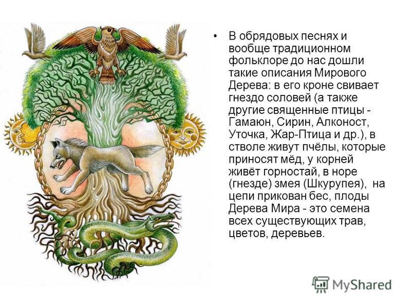 В обрядовых песнях и вообще традиционном фольклоре до нас дошли такие описания Мирового Дерева: в его кроне свивает гнездо соловей (а также другие священные птицы - Гамаюн, Сирин, Алконост, Уточка, Жар-Птица и др.), в стволе живут пчёлы, которые прин