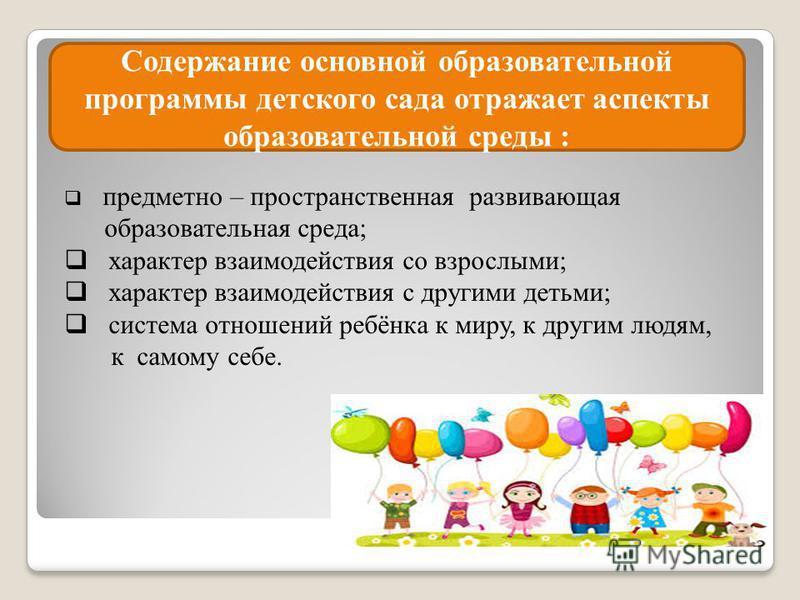 Содержание основной образовательной программы детского сада отражает аспекты образовательной среды : предметно – пространственная развивающая образовательная среда; характер взаимодействия со взрослыми; характер взаимодействия с другими детьми; систе