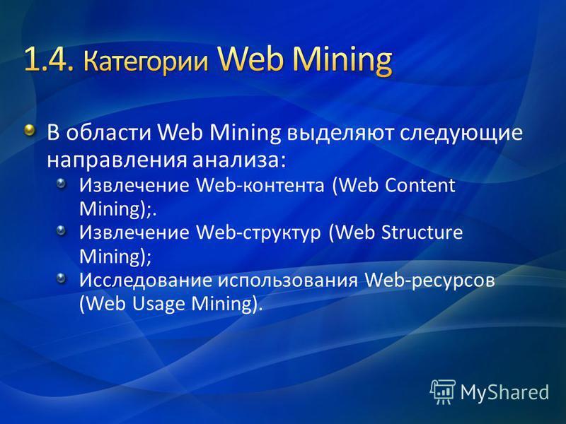 В области Web Mining выделяют следующие направления анализа: Извлечение Web-контента (Web Content Mining);. Извлечение Web-структур (Web Structure Mining); Исследование использования Web-ресурсов (Web Usage Mining).