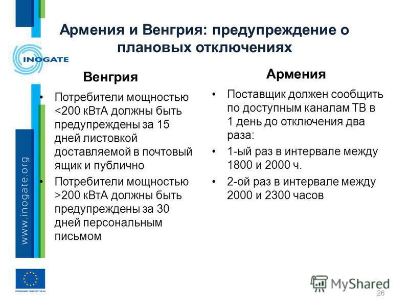 Армения и Венгрия: предупреждение о плановых отключениях Венгрия Потребители мощностью 200 к ВтА должны быть предупреждены за 30 дней персональным письмом Армения Поставщик должен сообщить по доступным каналам ТВ в 1 день до отключения два раза: 1-ый