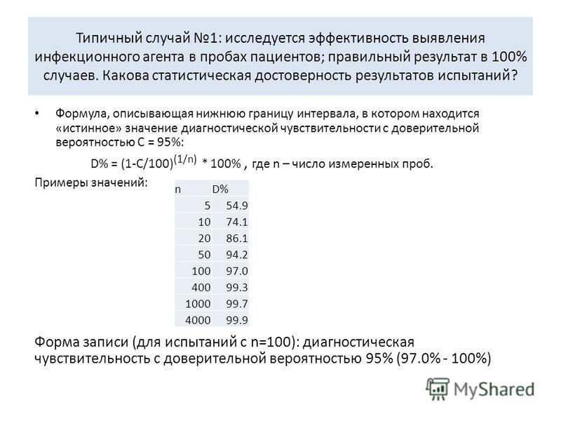 Типичный случай 1: исследуется эффективность выявления инфекционного агента в пробах пациентов; правильный результат в 100% случаев. Какова статистическая достоверность результатов испытаний? Формула, описывающая нижнюю границу интервала, в котором н