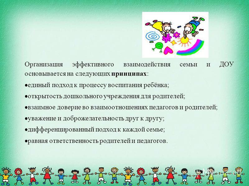 Организация эффективного взаимодействия семьи и ДОУ основывается на следующих принципах: единый подход к процессу воспитания ребёнка; открытость дошкольного учреждения для родителей; взаимное доверие во взаимоотношениях педагогов и родителей; уважени