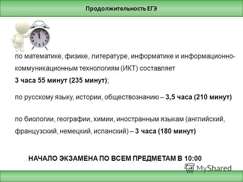 Продолжительность ЕГЭ по математике, физике, литературе, информатике и информационно- коммуникационным технологиям (ИКТ) составляет 3 часа 55 минут (235 минут); по русскому языку, истории, обществознанию – 3,5 часа (210 минут) по биологии, географии,