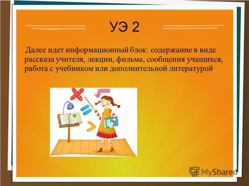 УЭ 2 Далее идет информационный блок: содержание в виде рассказа учителя, лекции, фильма, сообщения учащихся, работа с учебником или дополнительной литературой.