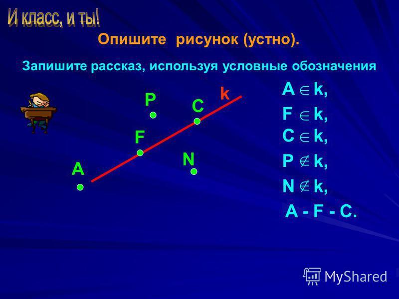 Опишите рисунок (устно). Запишите рассказ, используя условные обозначения А P C k N F Ak,k, Fk,k, Ck,k, Pk,k, Nk,k, A - F - C.