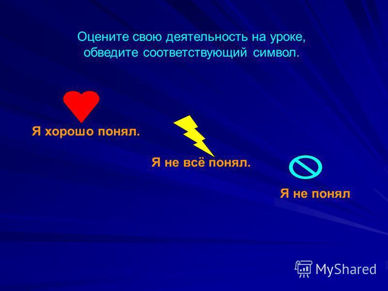 Я хорошо понял. Я не всё понял. Я не понял. Оцените свою деятельность на уроке, обведите соответствующий символ.
