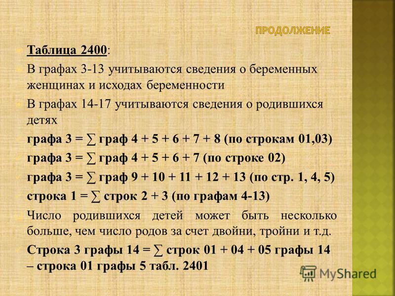Таблица 2400: В графах 3-13 учитываются сведения о беременных женщинах и исходах беременности В графах 14-17 учитываются сведения о родившихся детях графа 3 = граф 4 + 5 + 6 + 7 + 8 (по строкам 01,03) графа 3 = граф 4 + 5 + 6 + 7 (по строке 02) графа