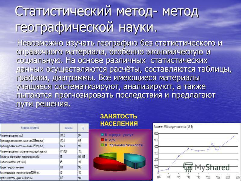 Статистический метод- метод географической науки. Невозможно изучать географию без статистического и справочного материала, особенно экономическую и социальную. На основе различных статистических данных осуществляются расчёты, составляются таблицы, г