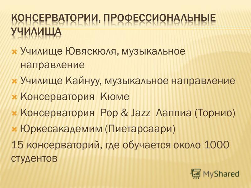 Училище Ювяскюля, музыкальное направление Училище Кайнуу, музыкальное направление Консерватория Кюме Консерватория Pop & Jazz Лаппиа (Торнио) Юркесакадемим (Пиетарсаари) 15 консерваторий, где обучается около 1000 студентов