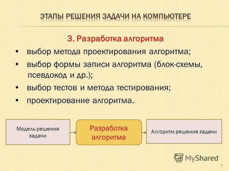 3. Разработка алгоритма выбор метода проектирования алгоритма; выбор формы записи алгоритма (блок-схемы, псевдокод и др.); выбор тестов и метода тестирования; проектирование алгоритма. 4 Разработка алгоритма Модель решения задачи Алгоритм решения зад