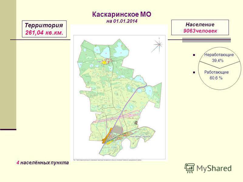 Неработающие 39,4% Работающие 60,6 % Территория 261,04 кв.км. Население 9063 человек 4 населённых пункта Каскаринское МО на 01.01.2014