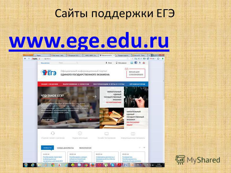 Сайты поддержки ЕГЭ www.ege.edu.ru
