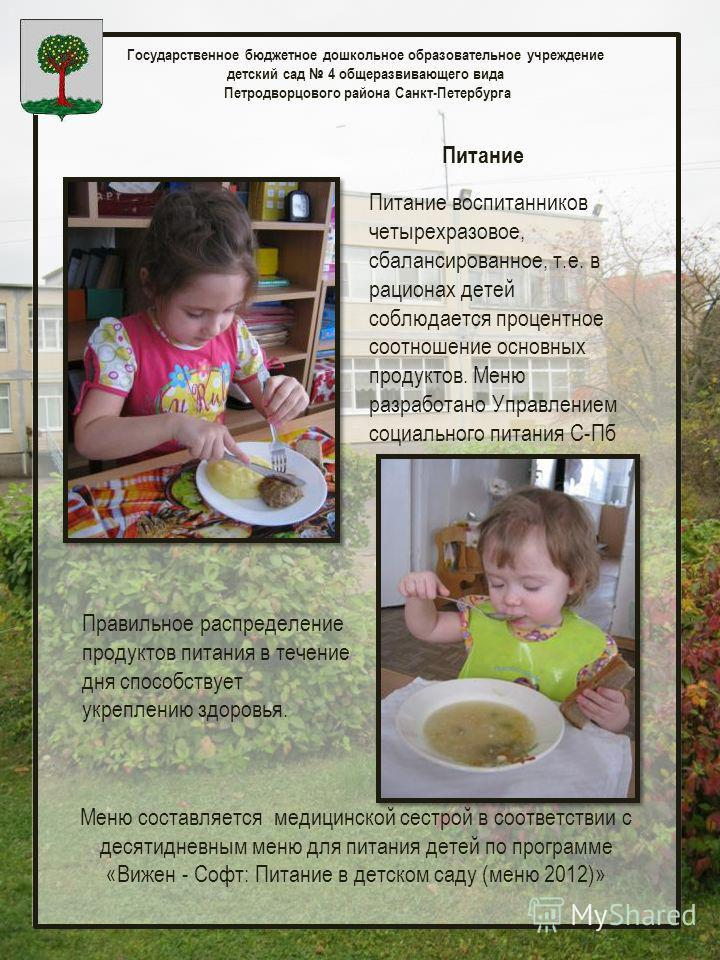Государственное бюджетное дошкольное образовательное учреждение детский сад 4 общеразвивающего вида Петродворцового района Санкт-Петербурга Питание Питание воспитанников четырехразовое, сбалансированное, т.е. в рационах детей соблюдается процентное с