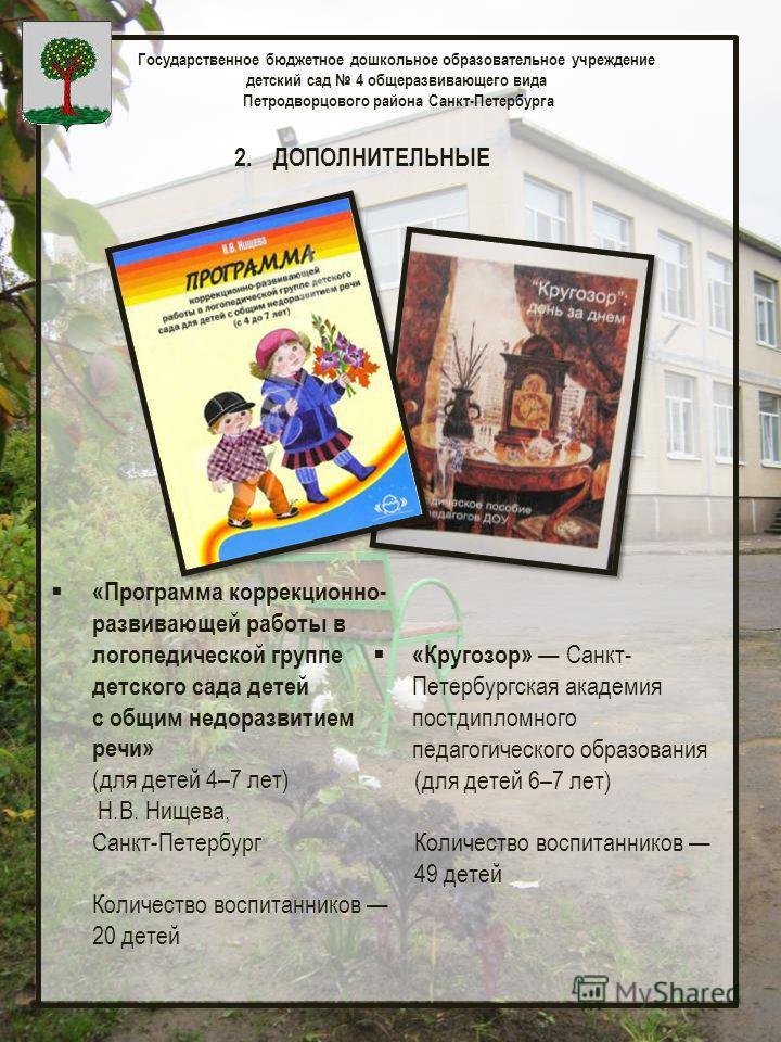 Государственное бюджетное дошкольное образовательное учреждение детский сад 4 общеразвивающего вида Петродворцового района Санкт-Петербурга 2. ДОПОЛНИТЕЛЬНЫЕ «Программа коррекционно- развивающей работы в логопедической группе детского сада детей с об