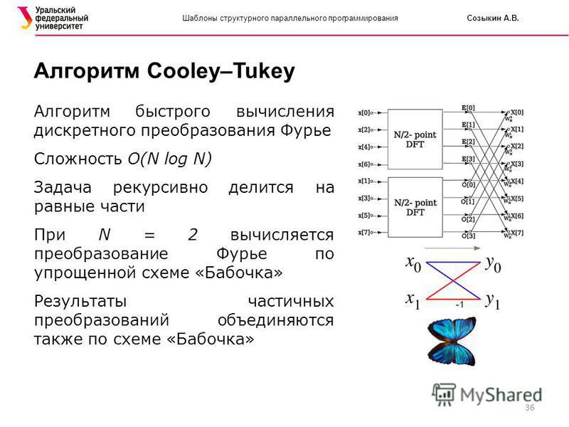 36 Шаблоны структурного параллельного программирования Созыкин А.В. Алгоритм Cooley–Tukey Алгоритм быстрого вычисления дискретного преобразования Фурье Сложность O(N log N) Задача рекурсивно делится на равные части При N = 2 вычисляется преобразовани