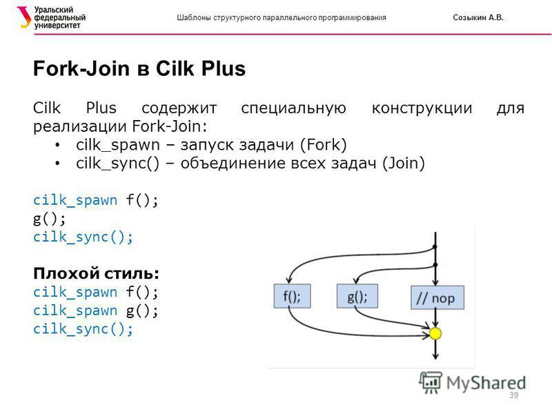 39 Шаблоны структурного параллельного программирования Созыкин А.В. Fork-Join в Cilk Plus Cilk Plus содержит специальную конструкции для реализации Fork-Join: cilk_spawn – запуск задачи (Fork) cilk_sync() – объединение всех задач (Join) cilk_spawn f(