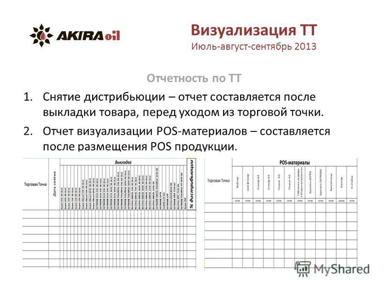 Визуализация ТТ Июль-август-сентябрь 2013 Отчетность по ТТ 1. Снятие дистрибьюции – отчет составляется после выкладки товара, перед уходом из торговой точки. 2. Отчет визуализации POS-материалов – составляется после размещения POS продукции.