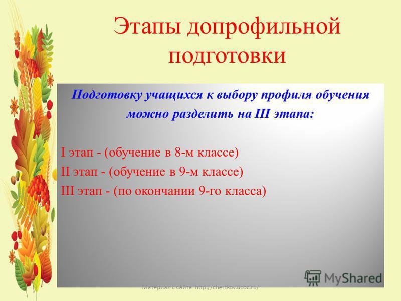 Этапы допрофильной подготовки Подготовку учащихся к выбору профиля обучения можно разделить на III этапа: I этап - (обучение в 8-м классе) II этап - (обучение в 9-м классе) III этап - (по окончании 9-го класса) Материал с сайта http://chertkov.ucoz.r