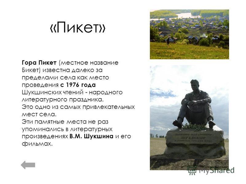 «Пикет» Гора Пикет (местное название Бикет) известна далеко за пределами села как место проведения с 1976 года Шукшинских чтений - народного литературного праздника. Это одно из самых привлекательных мест села. Эти памятные места не раз упоминались в