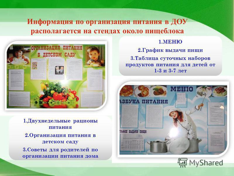 Информация по организация питания в ДОУ располагается на стендах около пищеблока 1. МЕНЮ 2. График выдачи пищи 3. Таблица суточных наборов продуктов питания для детей от 1-3 и 3-7 лет 1. Двухнедельные рационы питания 2. Организация питания в детском