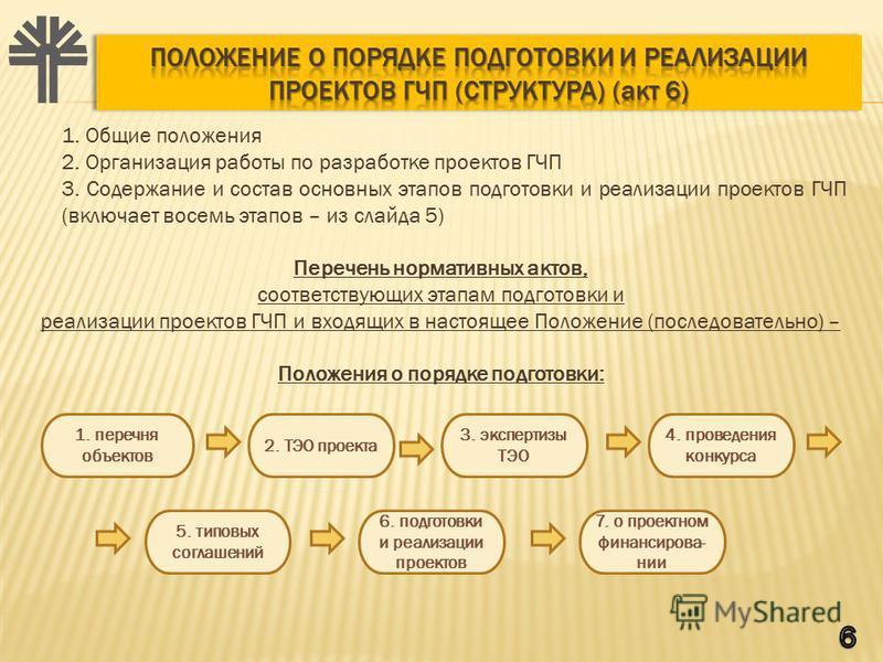 1. Общие положения 2. Организация работы по разработке проектов ГЧП 3. Содержание и состав основных этапов подготовки и реализации проектов ГЧП (включает восемь этапов – из слайда 5) Перечень нормативных актов, соответствующих этапам подготовки и реа